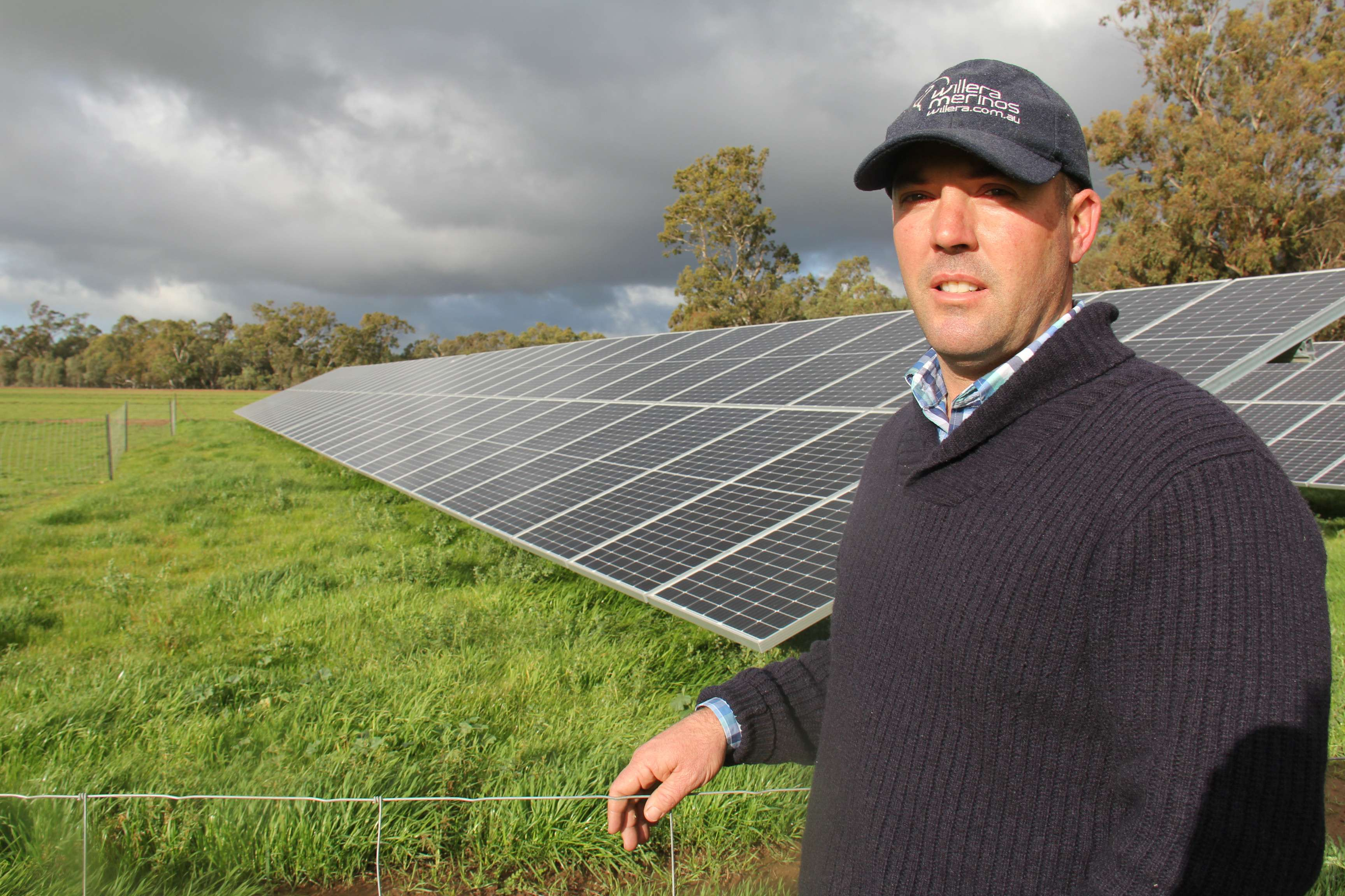 Karl Hooke with solar panels on his Serpentine farm.
