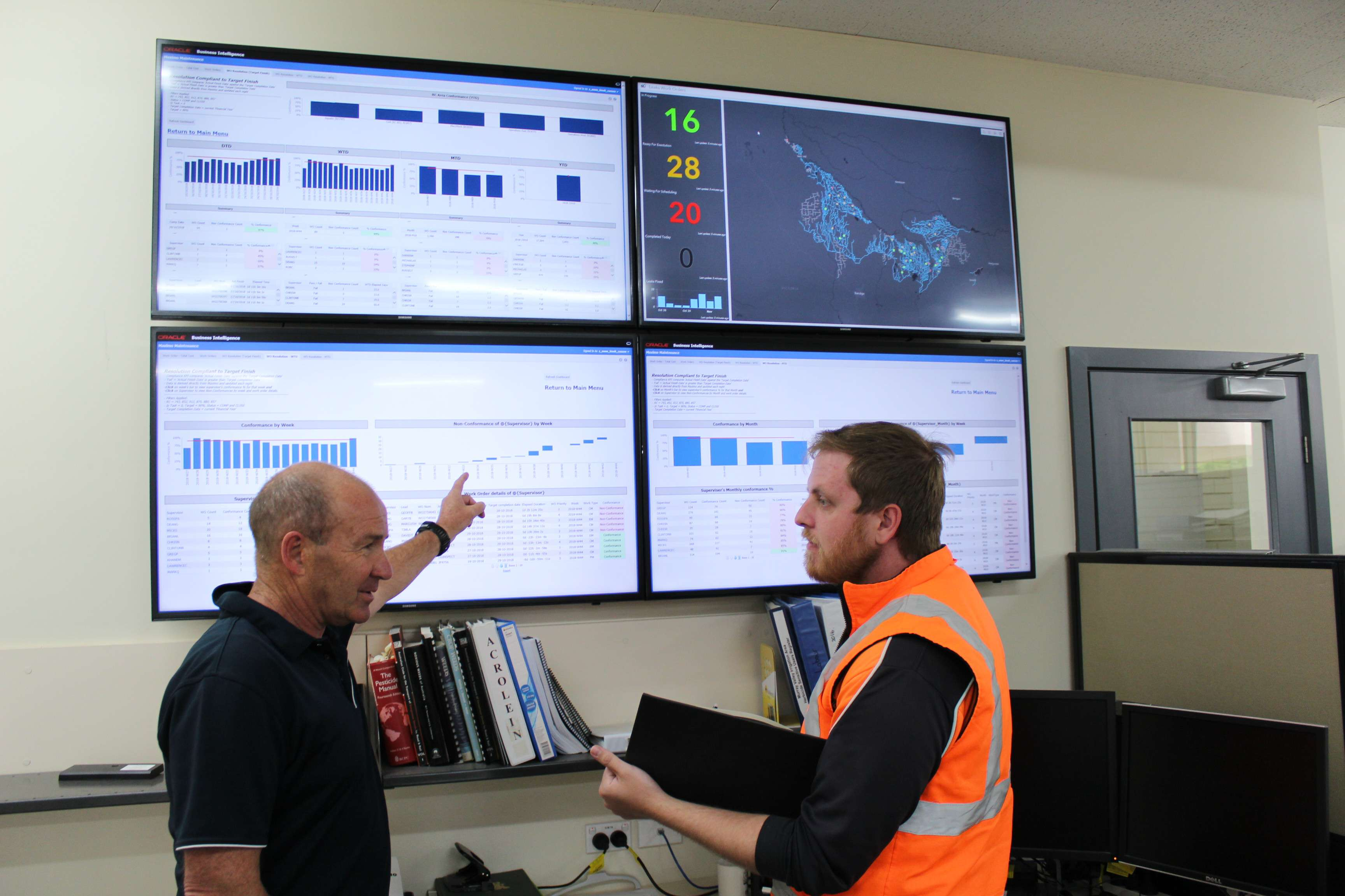GMW Works Scheduler and Planner Peter Watkins (left) and Maintenance Dispatch Planner Phillip Adornato Maintenance with the centralised monitoring system