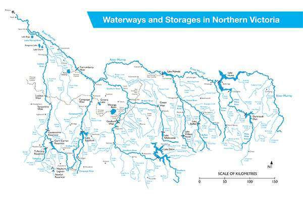 Waterways and storages in northern Victoria map
