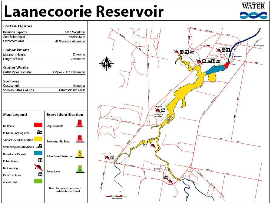 Laancoorie Reservoir Boating Map